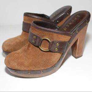 Ralph Lauren Leather Chunky Wooden Clog Mule